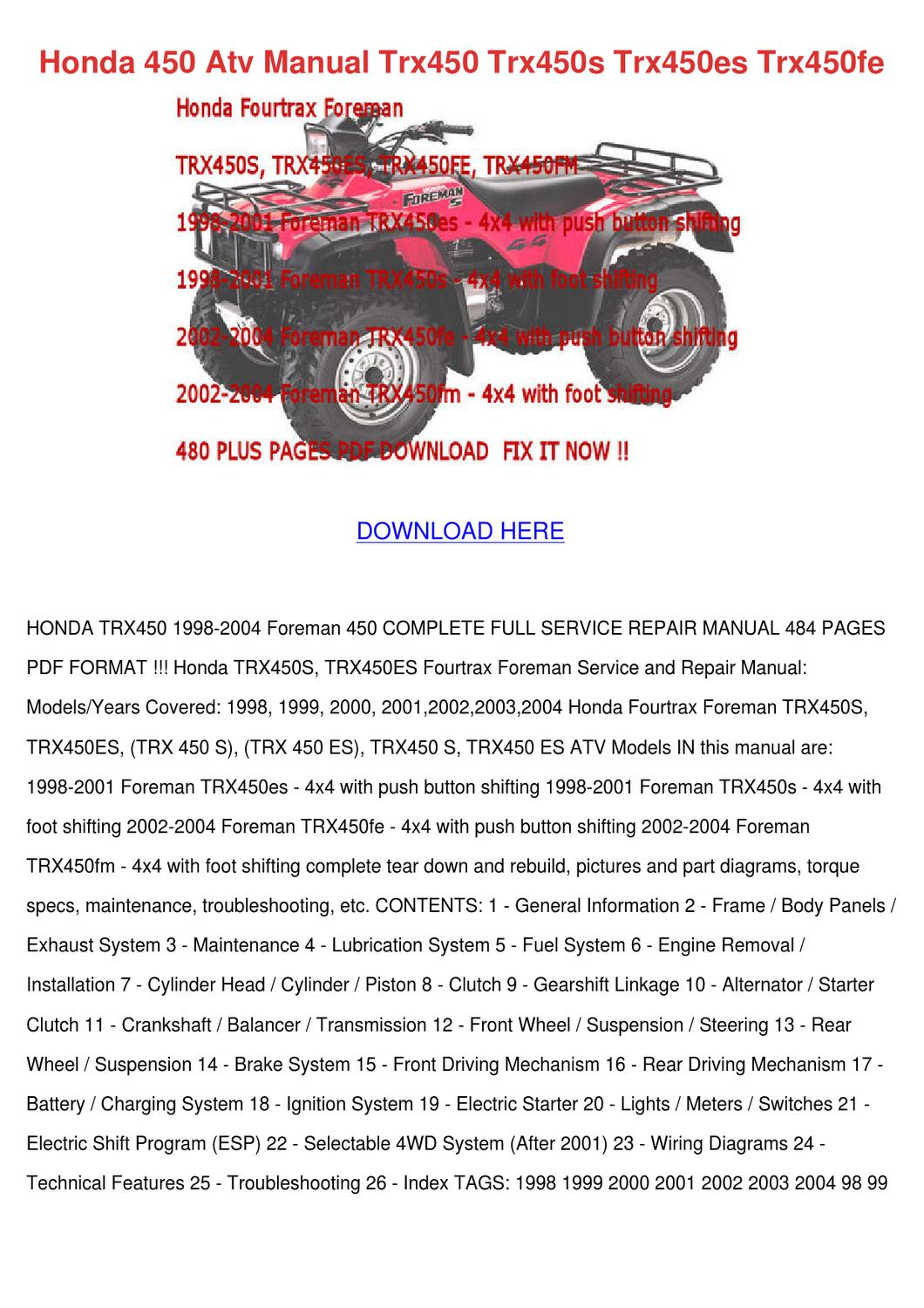 Honda 450 Atv Manual Trx450 Trx450s Trx450es by Magdalen Groholski - issuu