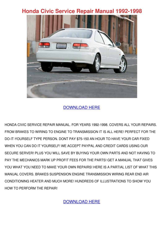 Honda Civic Service Repair Manual 1992 1998 by Magdalen Groholski ...