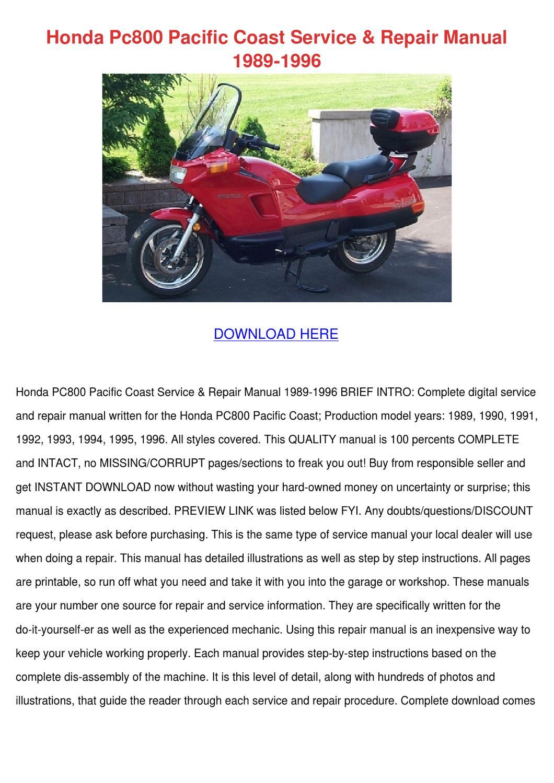 Honda Pc800 Pacific Coast Service Repair Manu by Magdalen ...