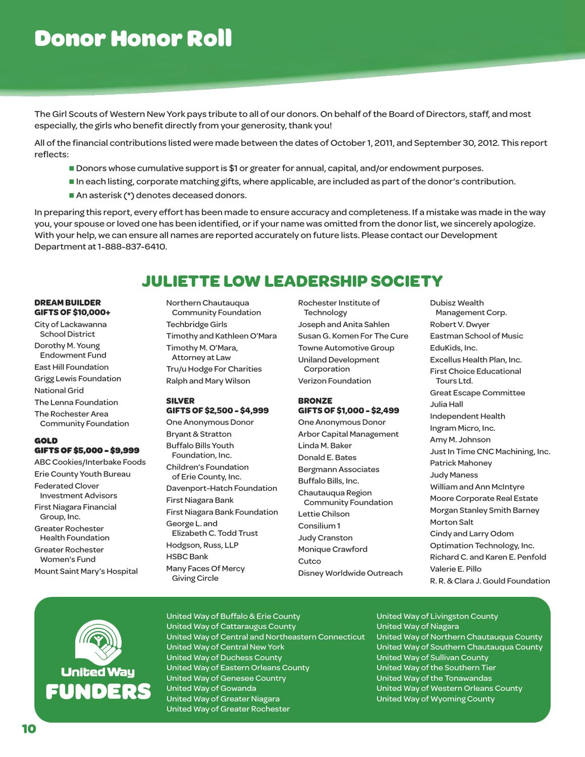 2011-2012 Annual Report by Girl Scouts of Western New York - issuu