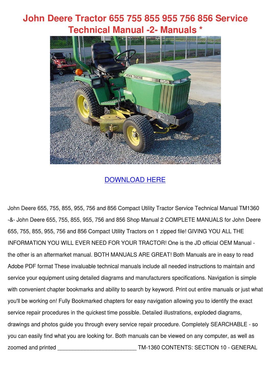 John Deere Tractor 655 755 855 955 756 856 Se by Cassie Schlau - issuu
