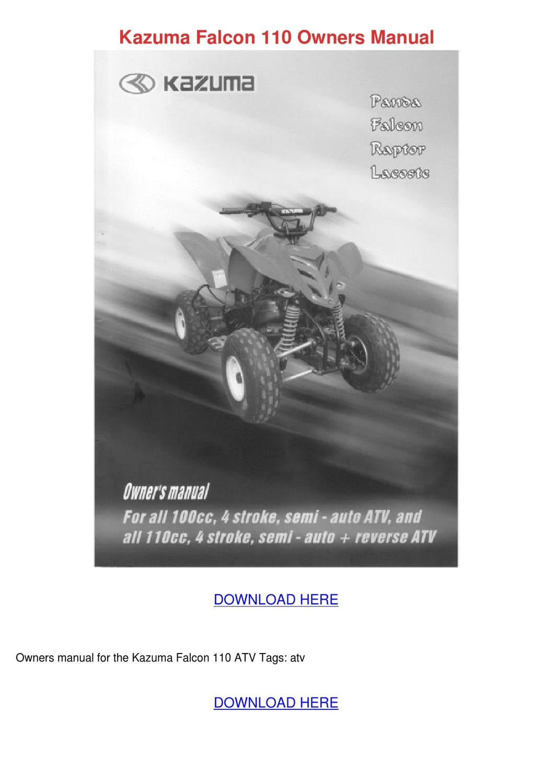 Kazuma Falcon 110 Owners Manual by Cassie Schlau - issuu