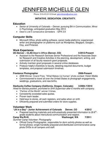 glen resume by jennifer glen issuu