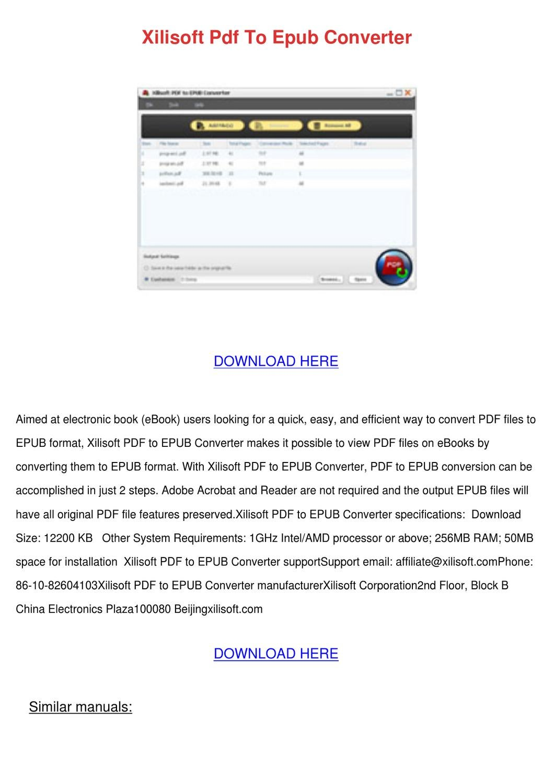 Xilisoft PDF to ePub Converter turn PDF files into eBook Format