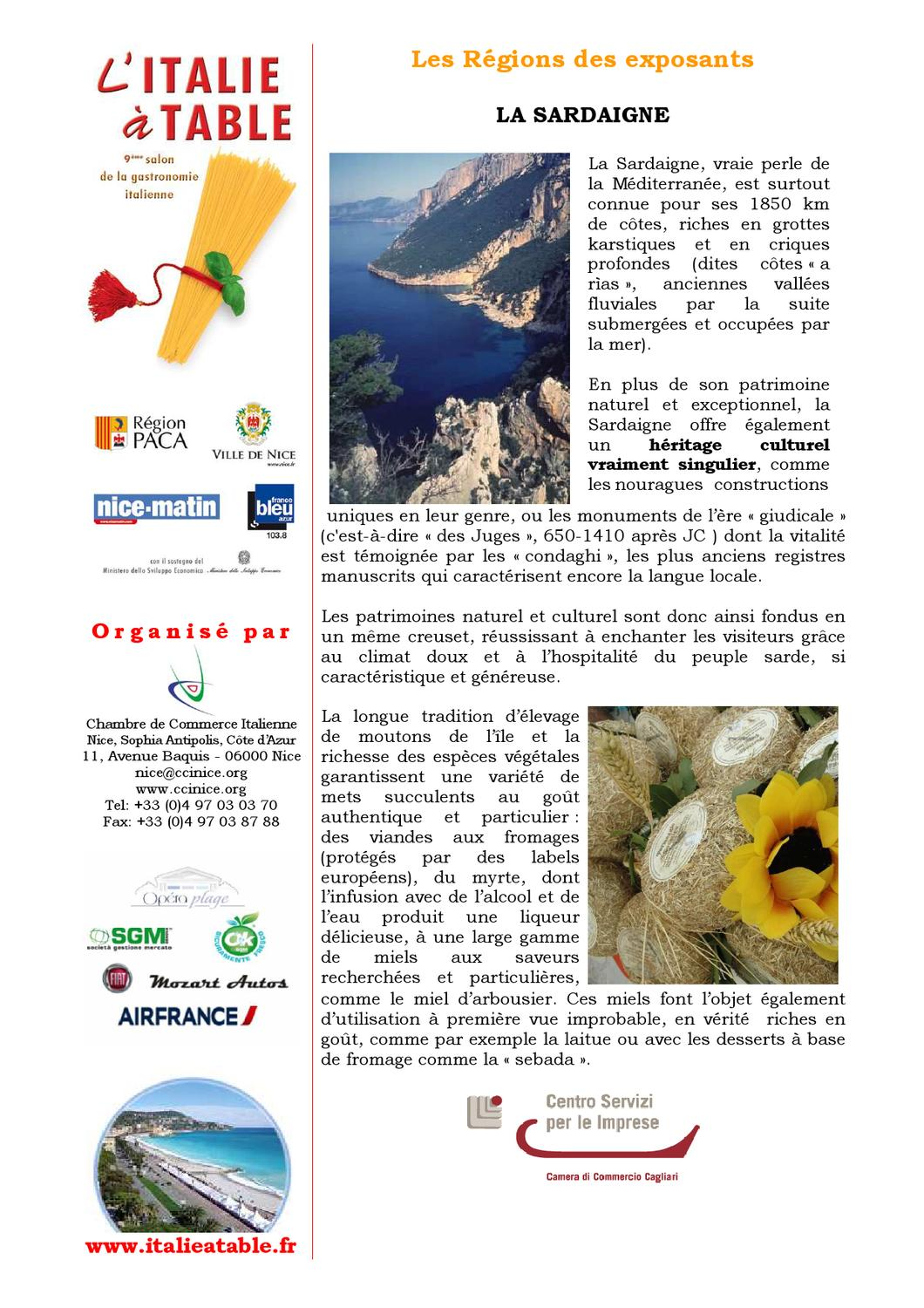 dossier de presse l 39 italie table 2013 by chambre de