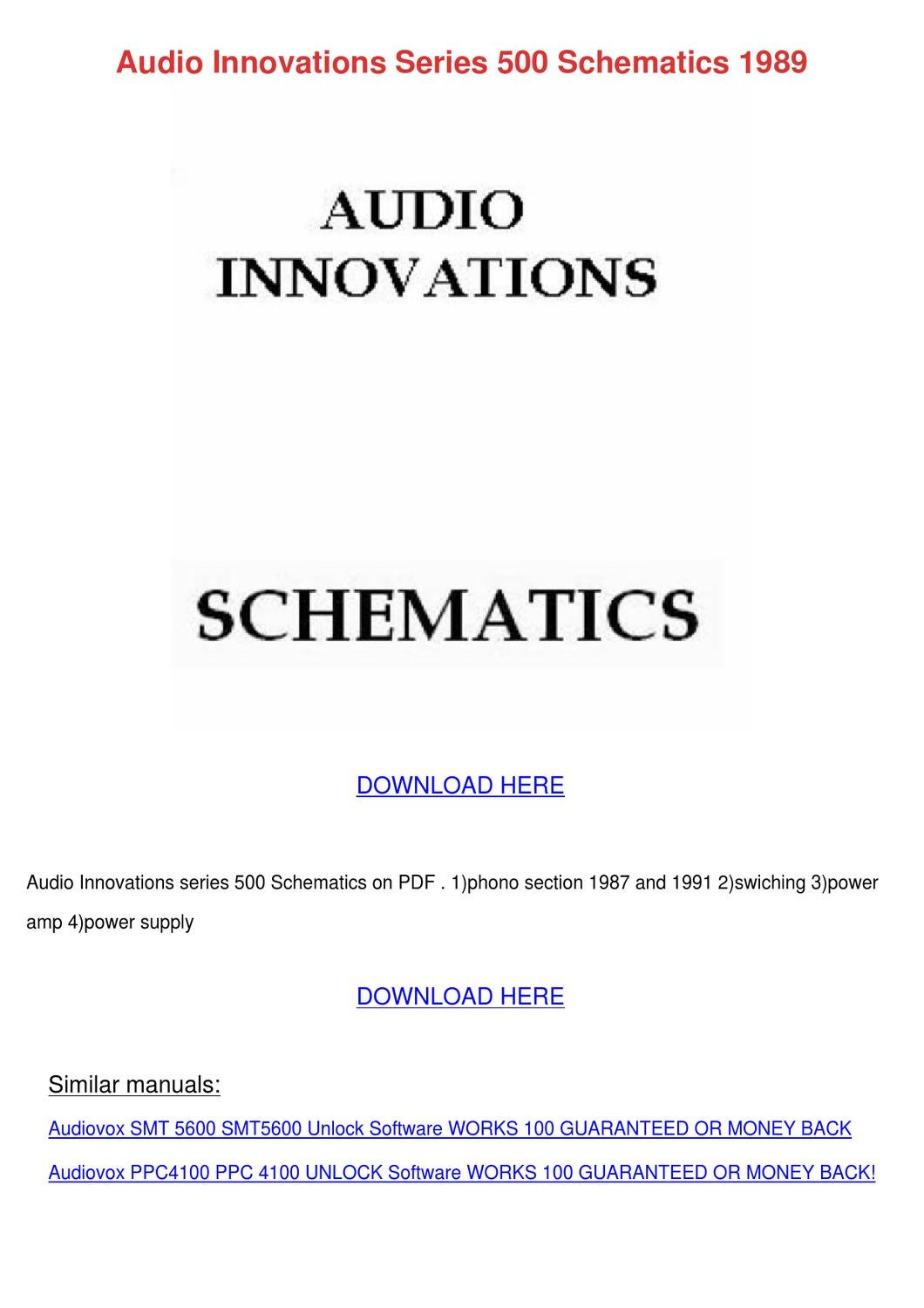 Audio Innovations Series 500 Schematics 1989 By Wei Velunza Issuu Amplifier Circuit Diagram Supreem Circuits And