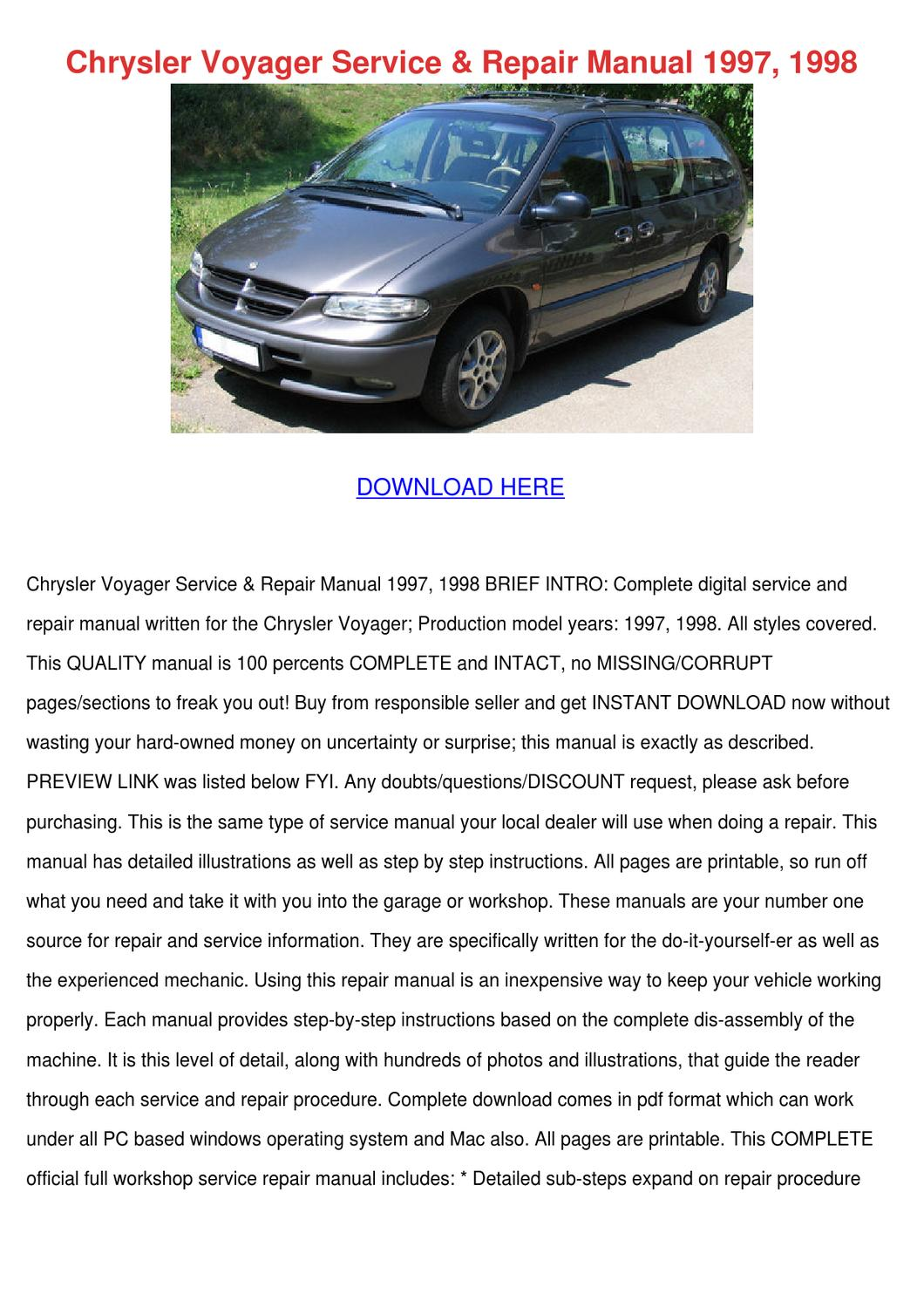 Chrysler Voyager Service Repair Manual 1997 1 by Wei Velunza - issuu
