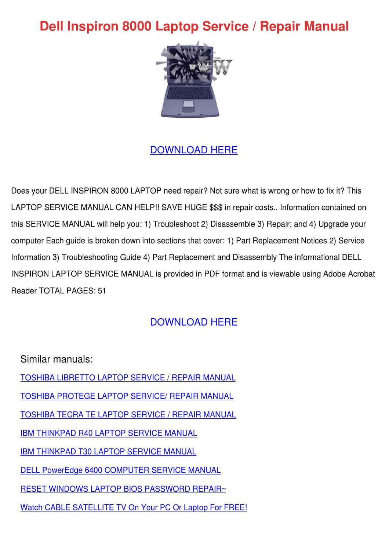 dell inspiron 8000 laptop service repair manu by buena feinberg issuu rh issuu com HP Owner Manuals Maintenance Manual