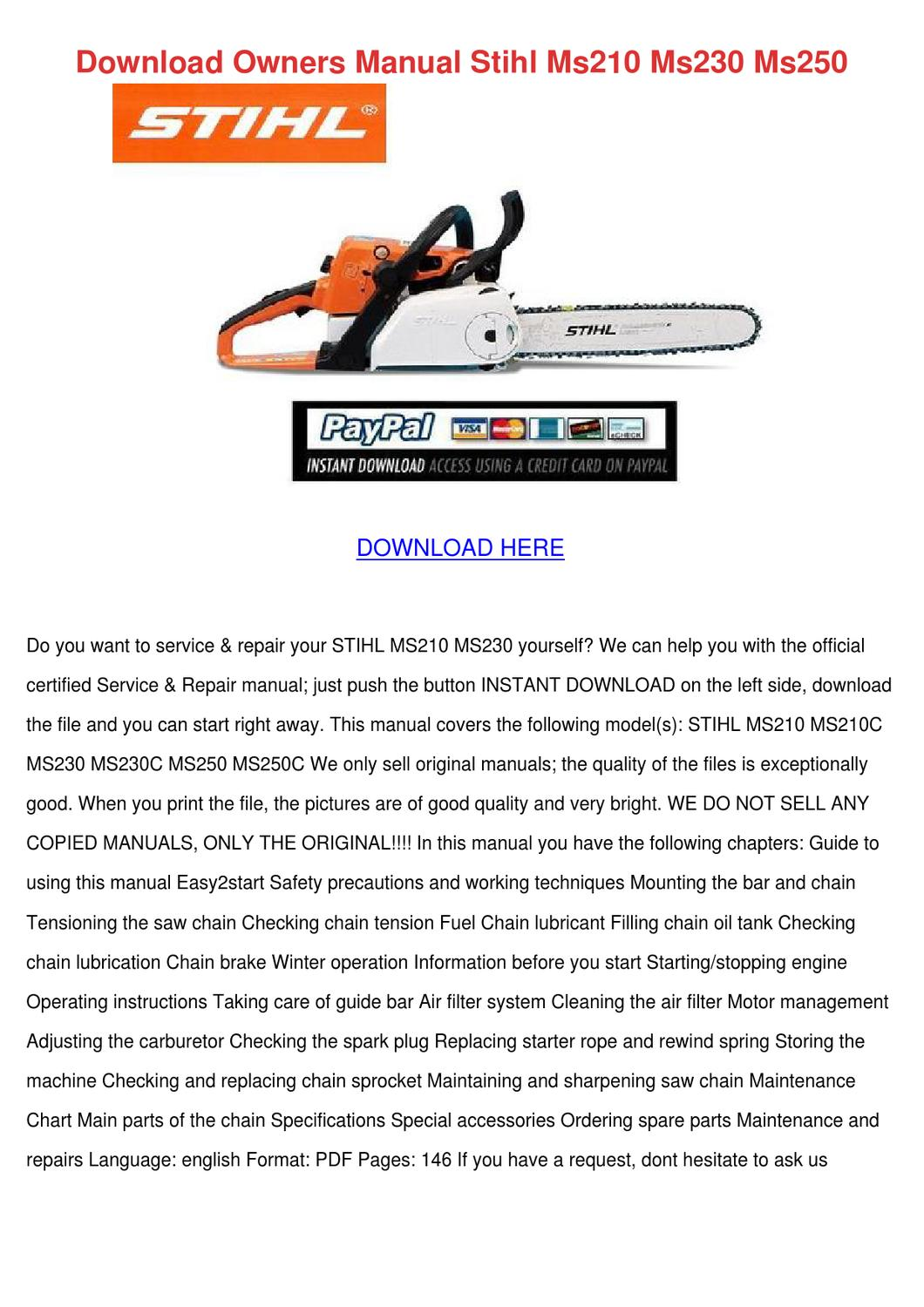 Download Owners Manual Stihl Ms210 Ms230 Ms25 by Buena