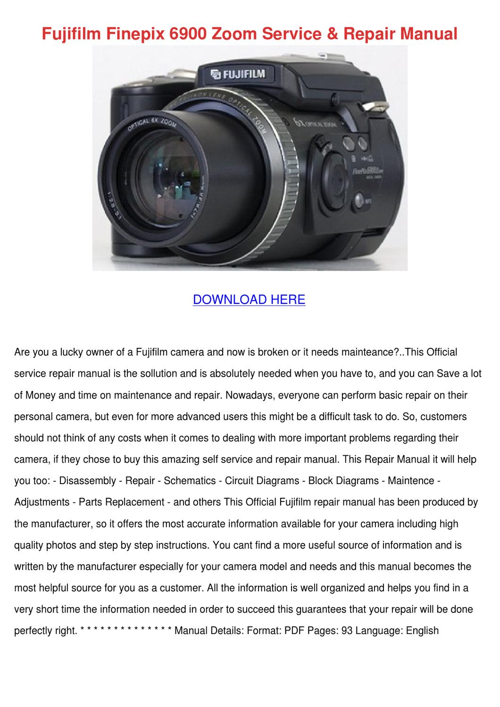 Fujifilm Finepix 6900 Zoom Service Repair Man By Buena Feinberg