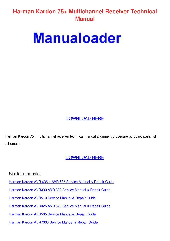 Harman Kardon 75 Multichannel Receiver Techni By Buena