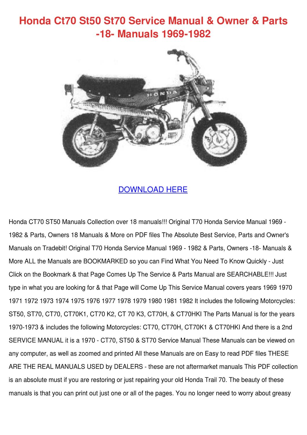 Honda Ct70 St50 St70 Service Manual Owner Par By Buena Feinberg Issuu 1970 Fuel Tank