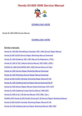 Gl1800 Service Manual Pdf