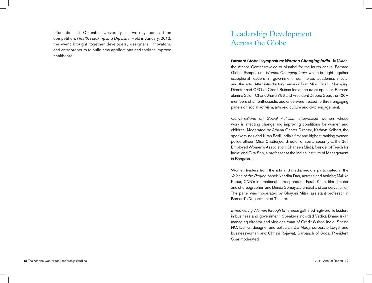 2012 Annual Report by Athena Center for Leadership Studies