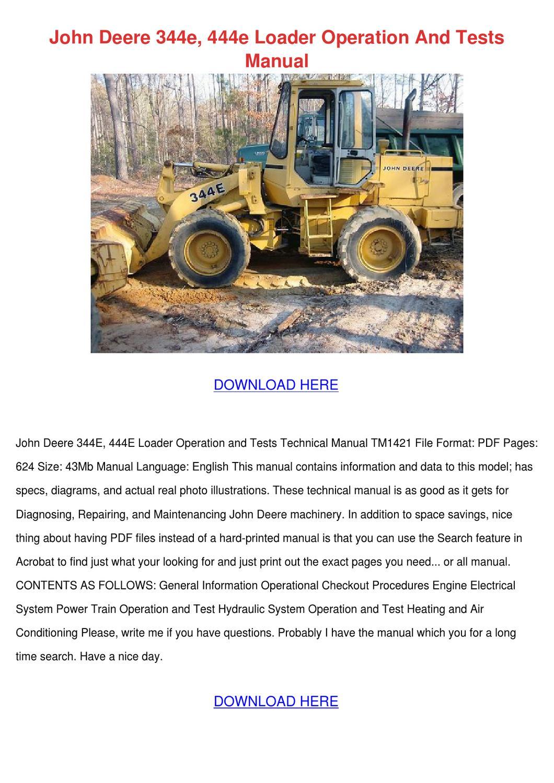 John Deere 344e 444e Loader Operation And Tes by Elisa Liggons - issuu