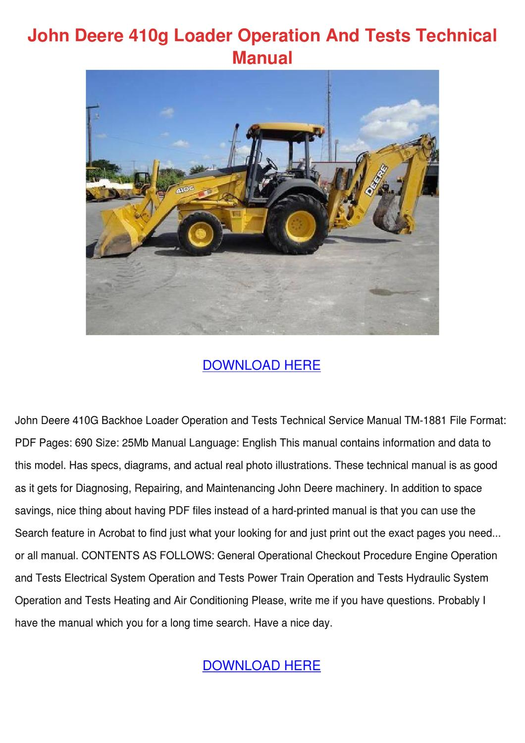 john deere 410g wiring diagram john deere 410g loader operation and tests te by elisa liggons issuu  john deere 410g loader operation and