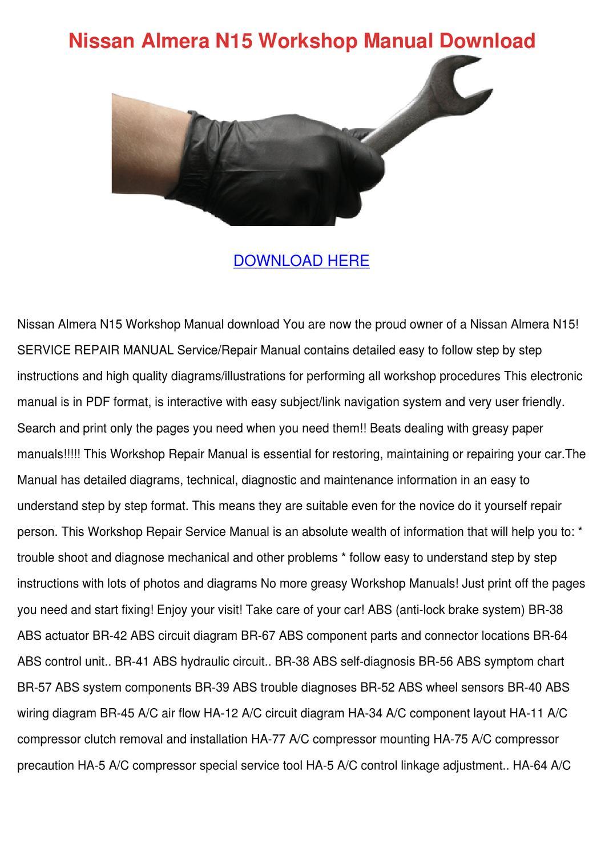 Nissan Almera N15 Workshop Manual Download By Gale Deppner