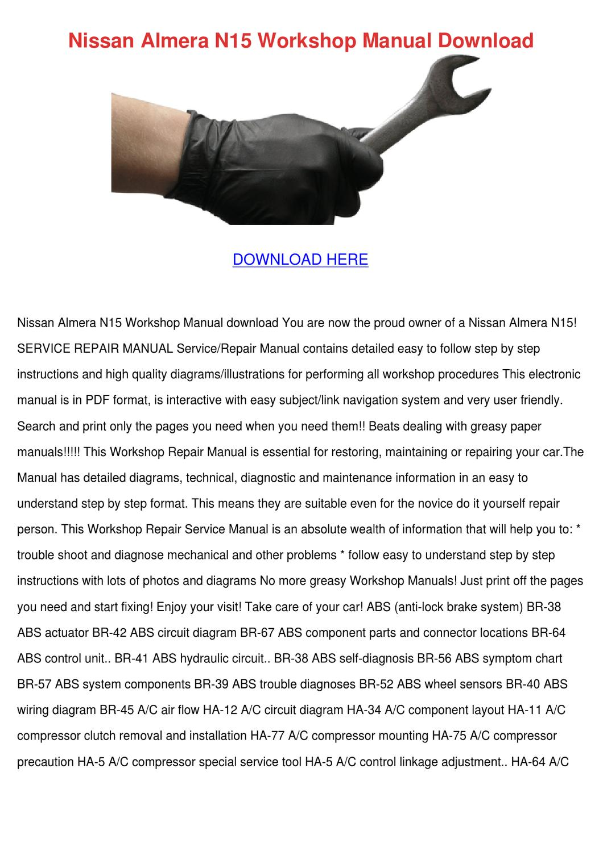 Nissan Almera N15 Workshop Manual Download By Gale Deppner Issuu N16 Fuse Box