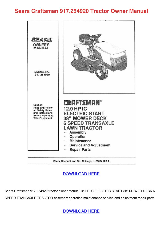 Sears Craftsman 917254920 Tractor Owner Manua by Gale Deppner - issuu