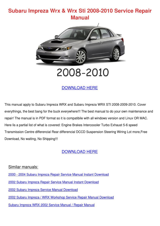 Subaru Impreza Wrx Wrx Sti 2008 2010 Service by Sheryll Dornak - issuu