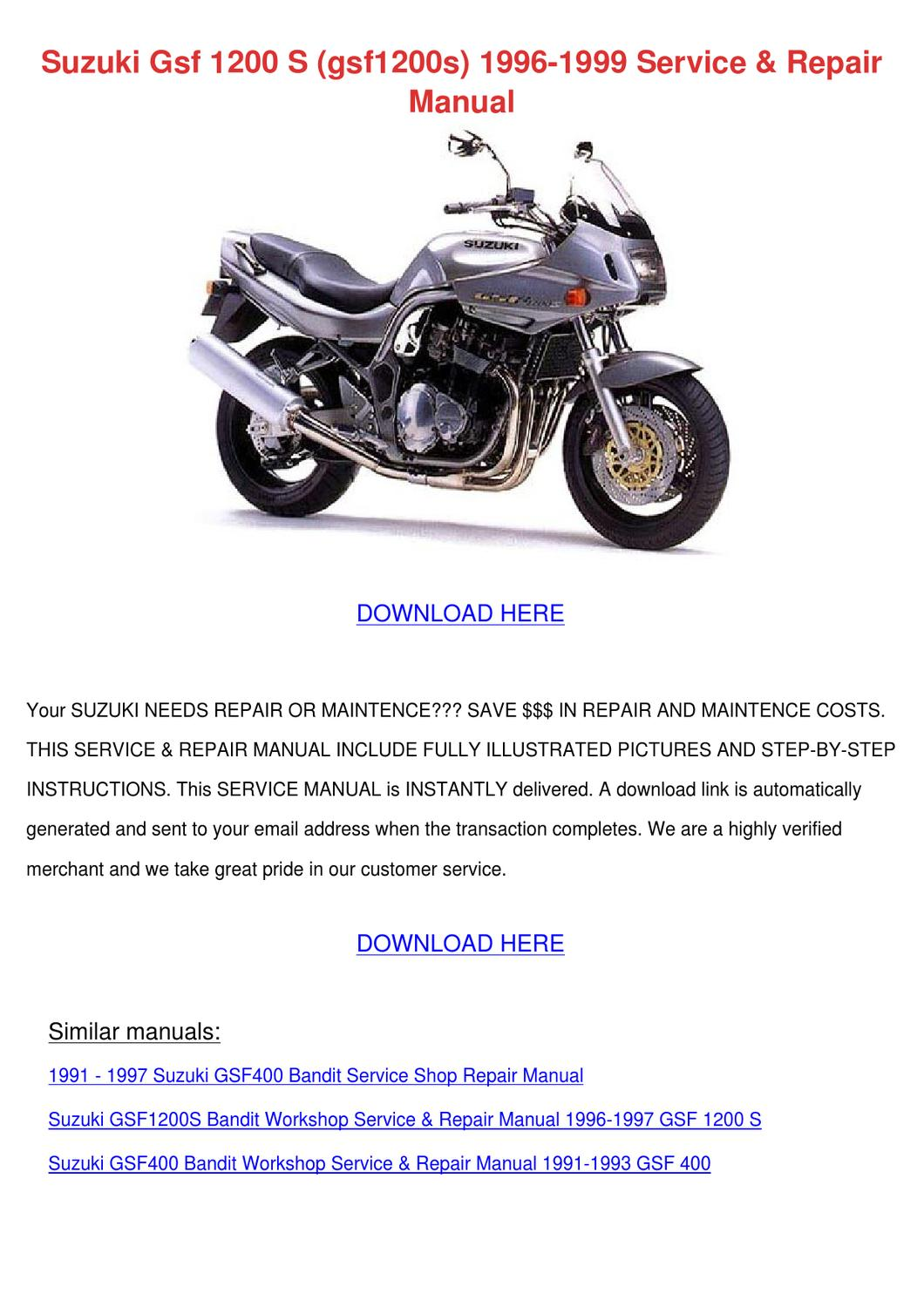 1991 1997 Suzuki Gsf400 Gsf400s Bandit Service Repair With Parts Diagrams Full Hd Version Parts Diagrams Pavy Nettoyagevertical Fr