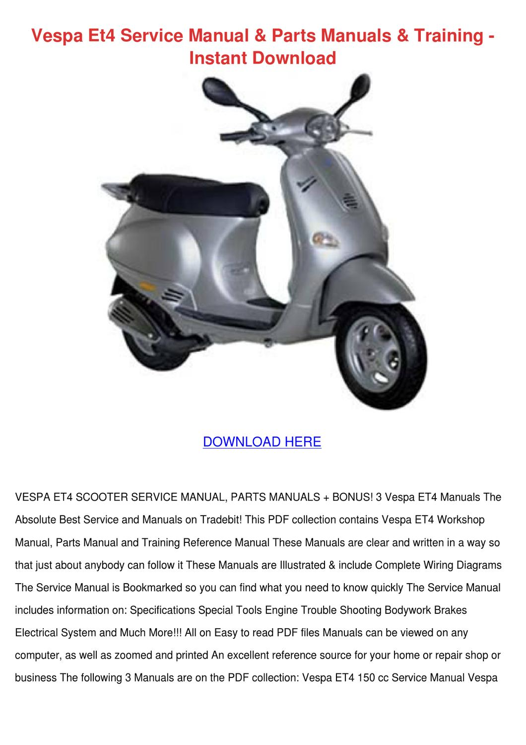 Vespa Et4 Wiring Diagram Pdf : Vespa et service manual parts manuals traini by sheryll