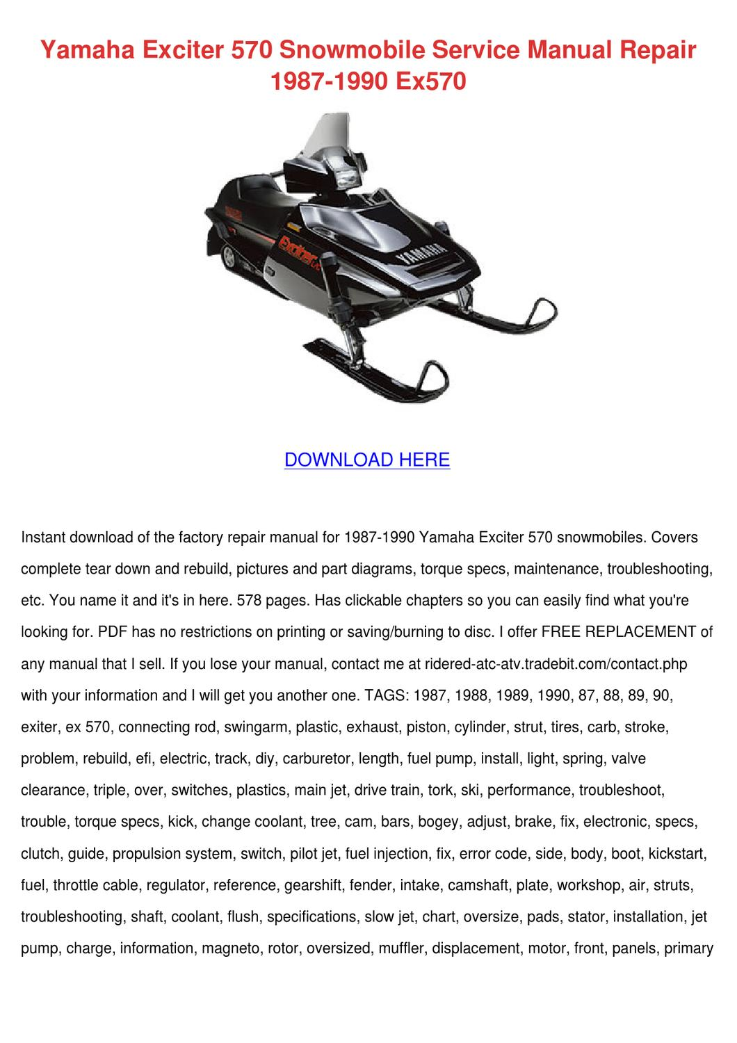 Yamaha Exciter 570 Snowmobile Service Manual by Sheryll Dornak - issuu