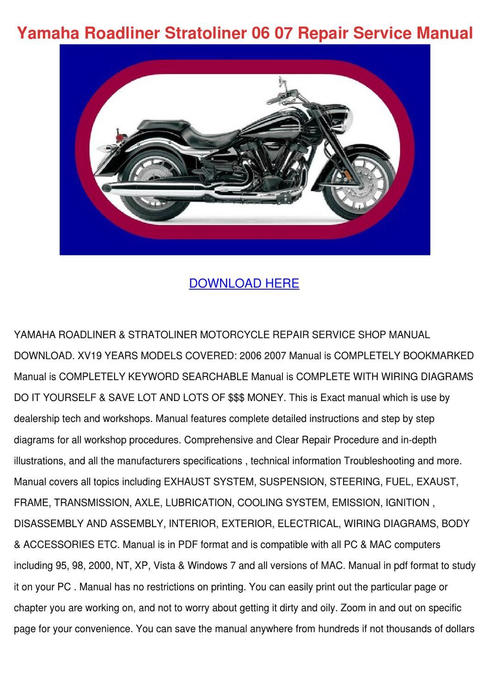 Yamaha Roadliner Stratoliner 06 07 Repair Ser By Sheryll