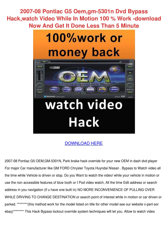 2007 08 Pontiac G5 Oemgm 5301n Dvd Bypass Hac by Tawana