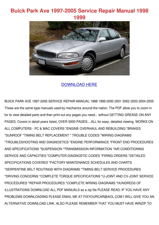 Buick Park Ave 1997 2005 Service Repair Manua By Maxie Chomka Issuu 1999 Dodge Intrepid Sedan Transmission Fuse Diagram
