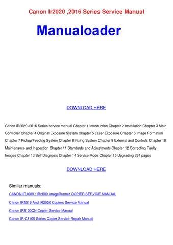 Canon Ir2020 2016 Series Service Manual by Maxie Chomka - issuu