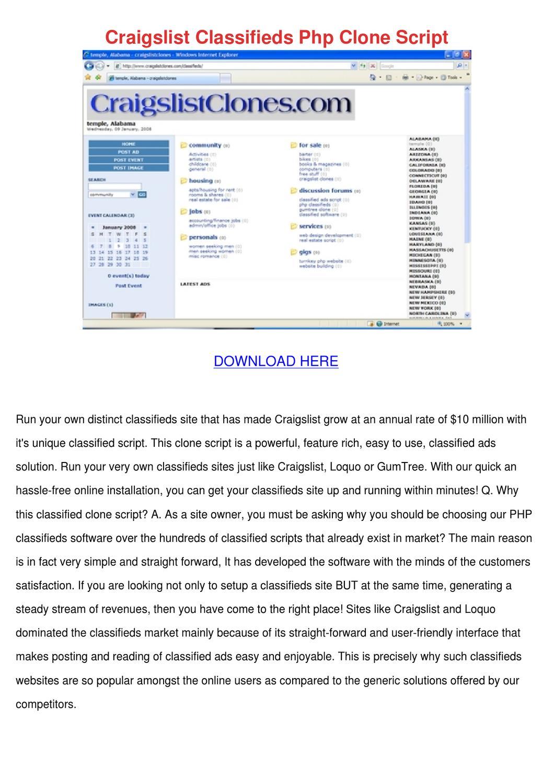 Craigslist Classifieds Php Clone Script by Maxie Chomka - issuu