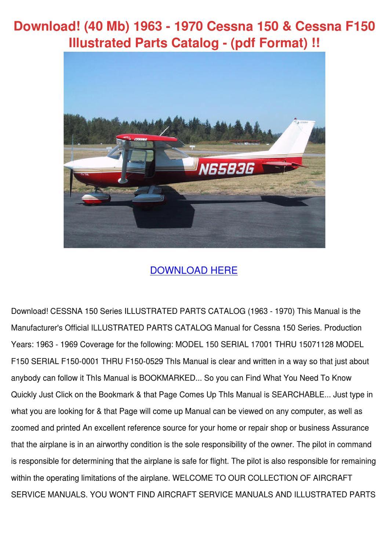 Download 40 Mb 1963 1970 Cessna 150 Cessna F1 by Maxie Chomka - issuu