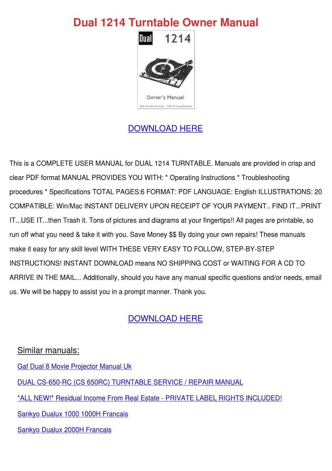 Dual 1214 Turntable Owner Manual by Maxie Chomka - issuu