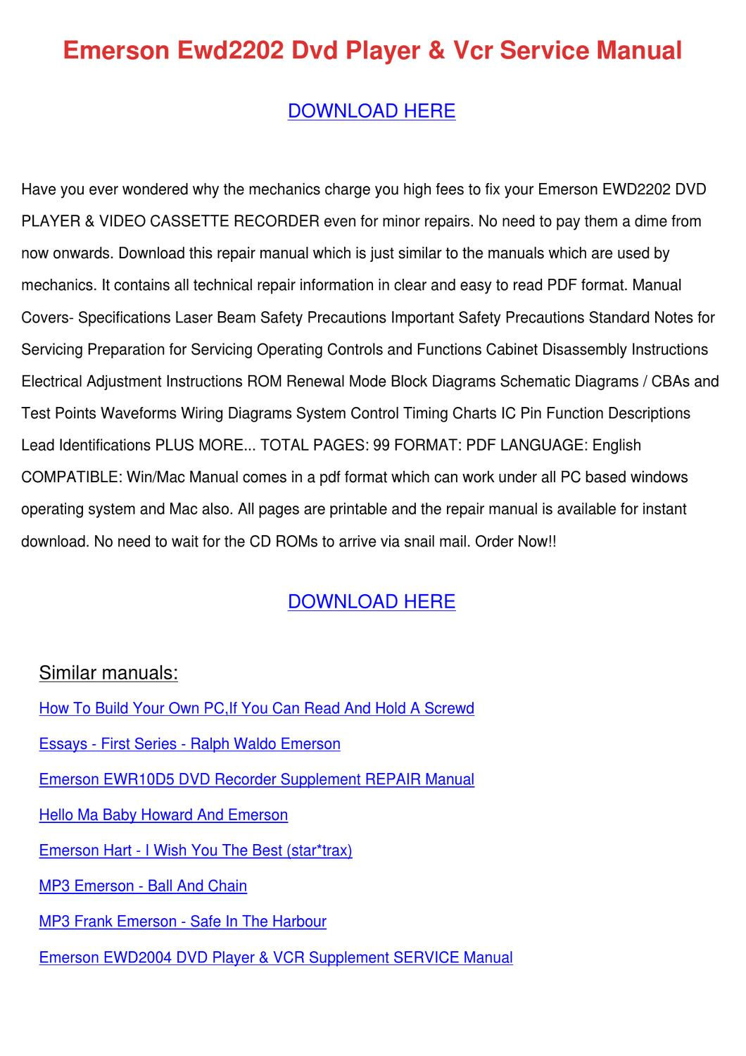 Excellent Emerson Ewd2202 Dvd Player Vcr Service Manual By Maxie Chomka Issuu Wiring Digital Resources Cettecompassionincorg
