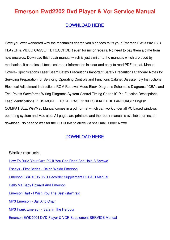 Phenomenal Emerson Ewd2202 Dvd Player Vcr Service Manual By Maxie Chomka Issuu Wiring 101 Capemaxxcnl