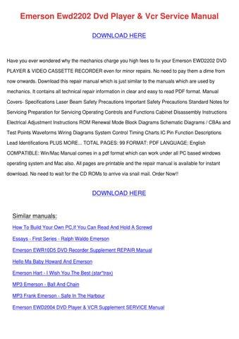 emerson ewd2202 dvd player vcr service manual by maxie chomka issuu rh issuu com
