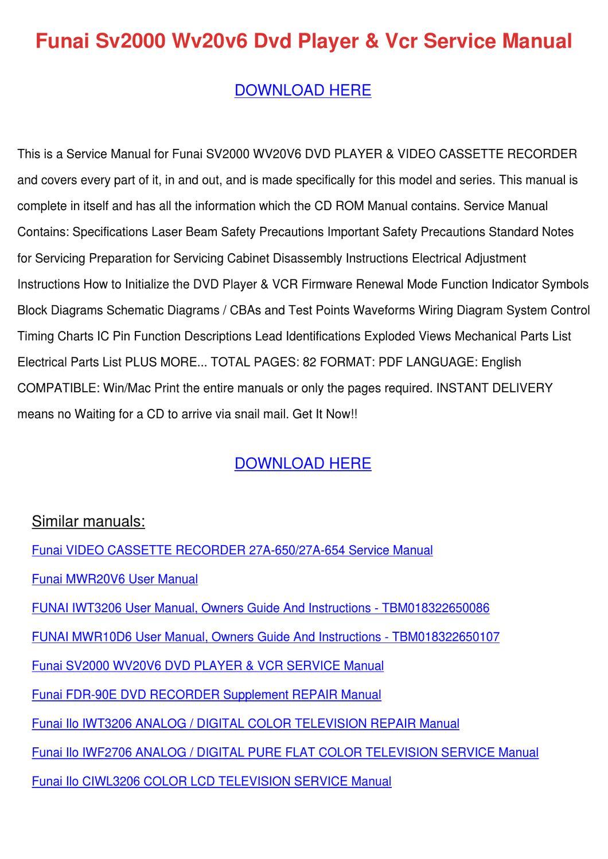 Funai Vcr Manual Deere 4440 Tractor Wiring Diagram On 2003 Kia Sorento Parts Array Sv2000 Wv20v6 Dvd Player Service Ma By Maxie Chomka Issuu Rh