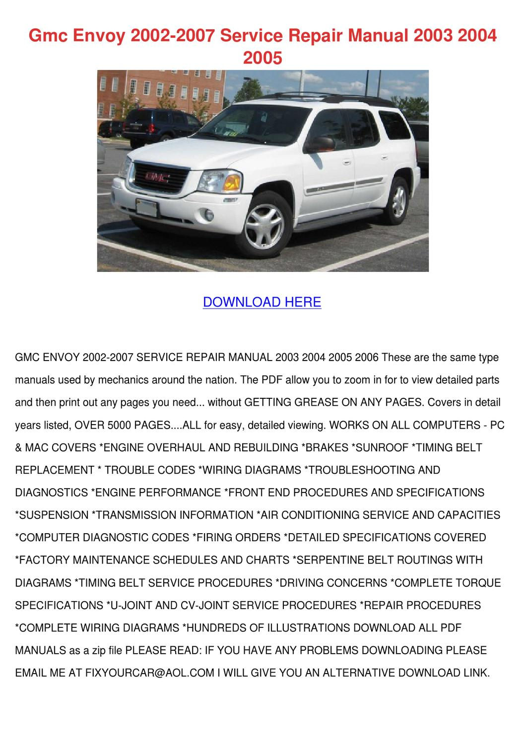 Gmc Envoy 2002 2007 Service Repair Manual 200 By Maxie Chomka Issuu 2003 Xl Wiring Diagram