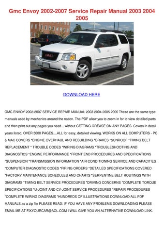 gmc envoy 2002 2007 service repair manual 200 by maxie chomka issuu rh issuu com 2003 GMC Envoy SLT 4x4 2003 GMC Envoy SLT 4x4