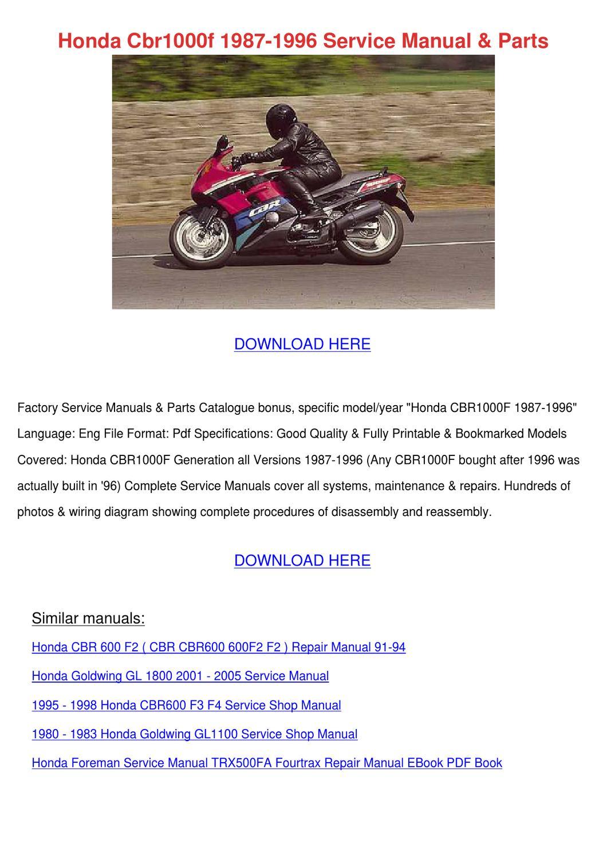 Honda Cbr1000f 1987 1996 Service Manual Parts by Maxie Chomka - issuu