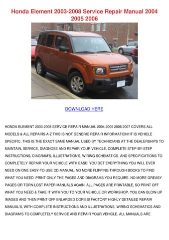 honda element 2003 2008 service repair manual by maxie. Black Bedroom Furniture Sets. Home Design Ideas
