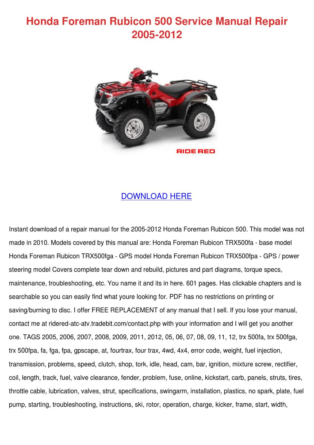 Honda Foreman Rubicon 500 Service Manual Repa by Maxie Chomka - issuu