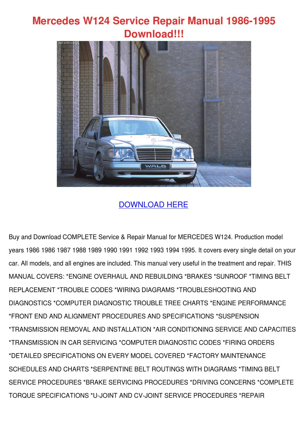 Mercedes W124 Service Repair Manual 1986 1995 by Karima Spinale ...