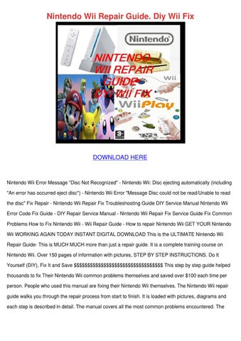 nintendo wii error code fix guide diy repair service manual
