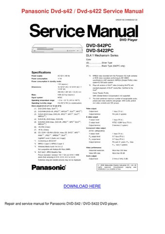 panasonic dvd s42 dvd s422 service manual by scarlet tabron issuu