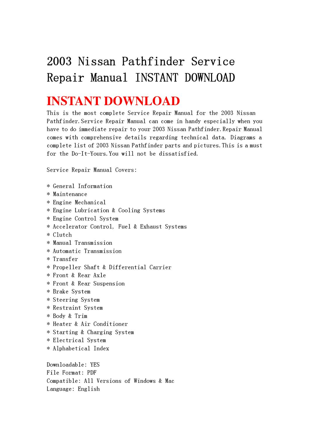 2003 Nissan Pathfinder Service Repair Manual INSTANT DOWNLOAD by yu jiew -  issuu