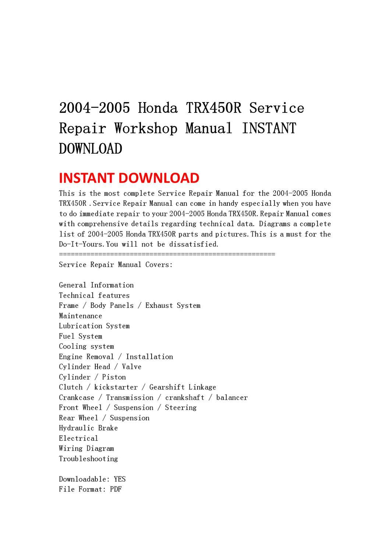 2004-2005 Honda Trx450r Service Repair Workshop Manual Instant Download By Yu Jiew
