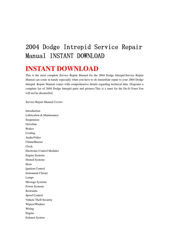2004 Dodge Intrepid Parts Catalog Wiring Diagram Service Repair Manual Instant Download Yu Jiew Issuu 1060x1500