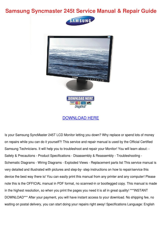 samsung syncmaster 245t service manual repair by scarlet tabron issuu rh issuu com